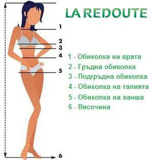 Ла Редут - Размери на дамски дрехи