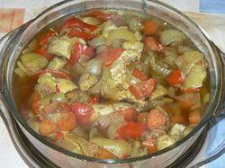 Пиле със зеленчуци и гъби